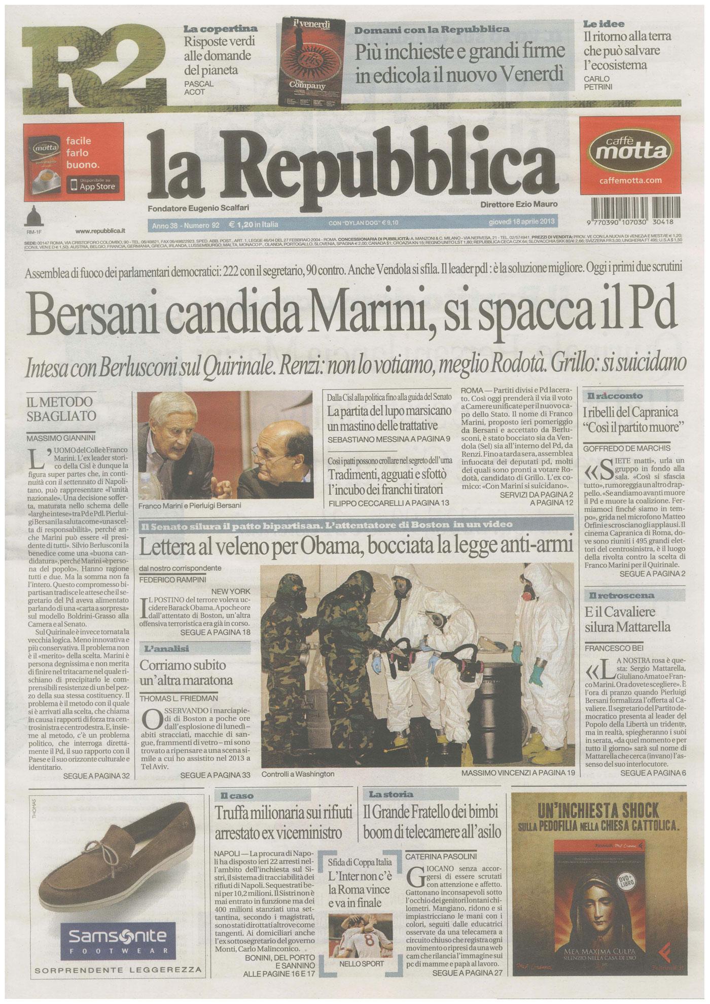 """Repubblica titola in prima pagina: """"Grande fratello dei bimbi…""""."""